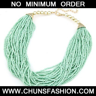 light green beads weave Necklace
